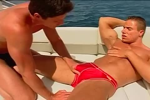 Fervent ass pumping on the yacht with muscled males
