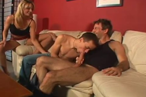 sexy ambisexual Male+Male+Female on The daybed