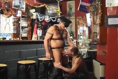 those Two large boyz Wearing Leather have a enjoyment nasty Sex At The Bar