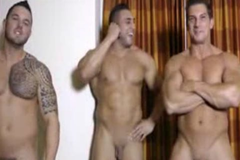 three Hunks jerking off And Showering