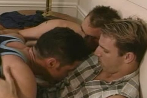 excited homo three-some baths bunch-sex