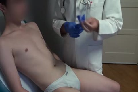 slim Japanese chap Examined, hairless And Deflowered On The Doctors Examination Table. gigantic cum flow.