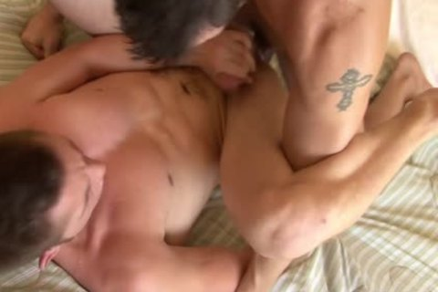 Tattooed homo acquires pooper Smashed Well