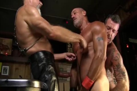 Leather Clad fellas plough Each Other On The Pool Table