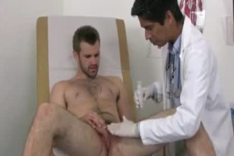 Businessman Examined By homo Male Doctor once hello