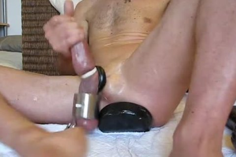 big fake 10-Pounder and dildos in  gaping aperture