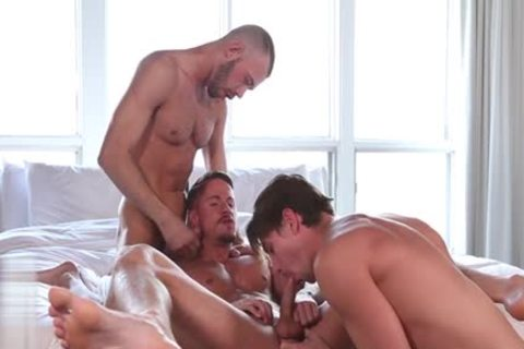 large weenie homosexual threesome And Facial