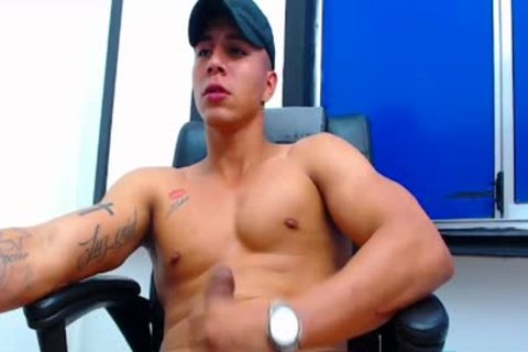 Flirt4Free Latino man shoots A Load From His Monster rod