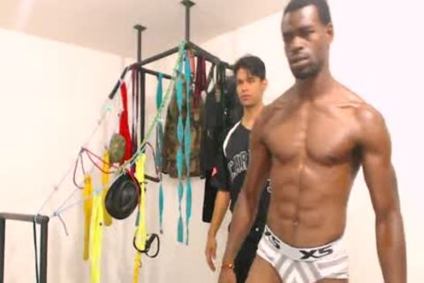 Tairon And Alexandro - Flirt4Free - ebony guy In Army Garb Flexes whilst Latino Buddy Gives Him A Hard cook jerking