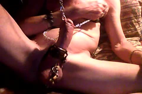 jerk off With shackled nipples & wang