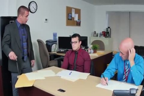 threesome With throbbing penises In The Office