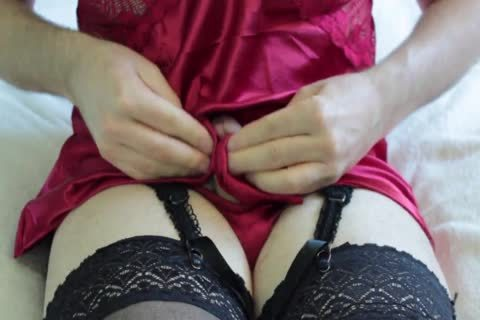 Playing In And Cumming On Red Satin Chemise And G-string