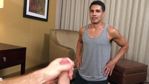 Str8Chaser: Black hair Brandon Garza plus Paul Wagner handjob