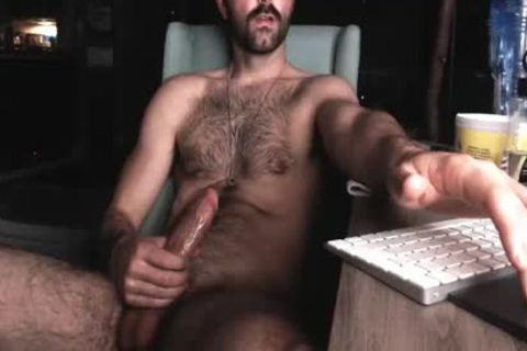 bushy Chest lad jerking off His throbbing rod And Shooting throbbing Load Of cum