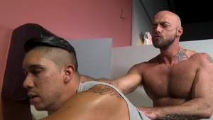Pride Studios: Latino brunette Adrian Suarez rough throat fuck