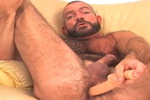 large and shaggy, bearded BEAR works anal w/ sex tool